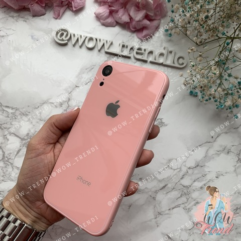 Чехол iPhone XR Glass Full color Case Logo /pink/