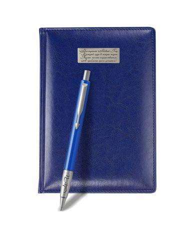 Набор с гравировкой: Ежедневник недатированный и Шариковая ручка Parker Vector Standard K01, цвет: Blue