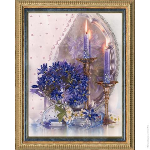 Размер: 35х27 см; ¶Ткань с рисунком: искусственный шелк; ¶Количество цветов бисера: 7; ¶С добавление