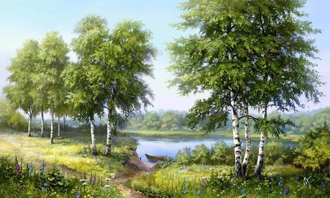 Картина раскраска по номерам 30x40 Березы у реки