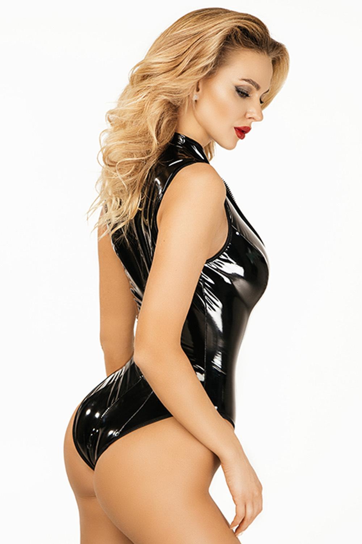 Сексуальный черный лакированный боди
