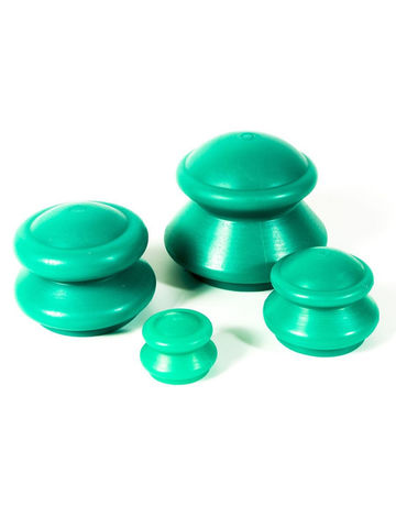 Банки для вакуумного массажа резиновые, 4шт (средняя жесткость, зеленая)