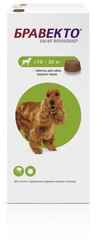 Бравекто таблетка инсектоакарицидная для собак 500мг 10-20кг