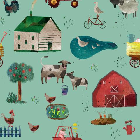 маленькая ферма голубая/farm blue