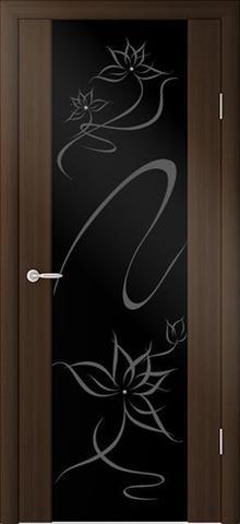 Дверь ALBERO Сан-Ремо СР-1 Симфония триплекс чёрный с художественным рисунком (кипарис тёмный, остекленная экошпон), фабрика Фрегат