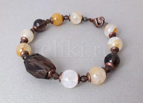 браслет желто-коричневый из раухтопаза и песочного кварца_фото
