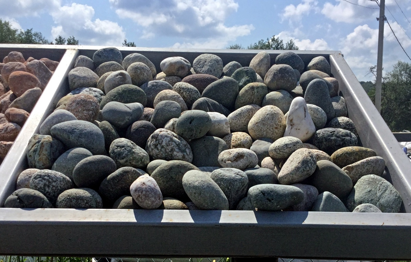 Стенд Галька камень речной Серый