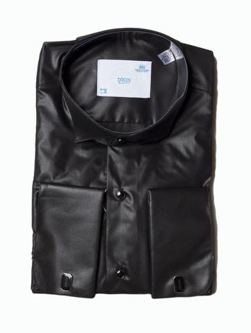 Сорочка Dion под бабочку черная приталенная с пуговицами-запонками
