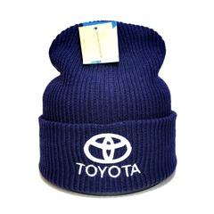 Вязаная шапка с вышитым логотипом Тойота (Toyota) синяя