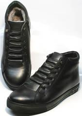 Мужские кожаные ботинки на меху Ridge 6051 X-16Black