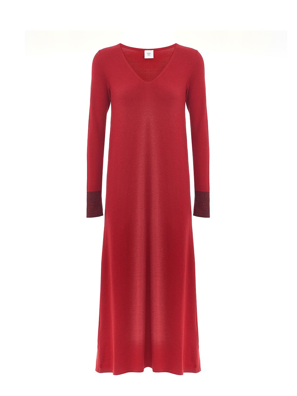 Женское платье красного цвета из шерсти и шелка - фото 1