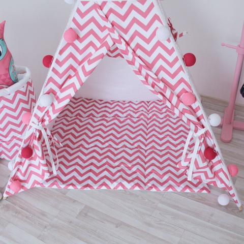 Игровой коврик к вигваму Pink Zigzag Tipi розовые зигзаги