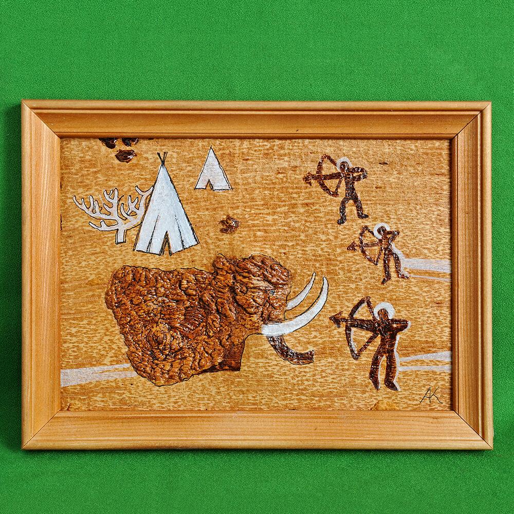 Картина на бересте Охота на мамонта