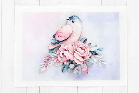 Папертоль Птичка счастья - готовая работа, фронтальный вид
