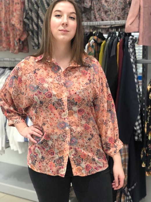 Блузка Cliche 9755 рубашка цветы 3/4 (В20)