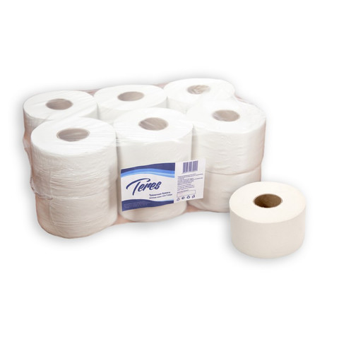 Бумага туалетная в рулонах Терес Эконом мини 1-слойная 12 рулонов по 200 метров (артикул производителя T-0024)