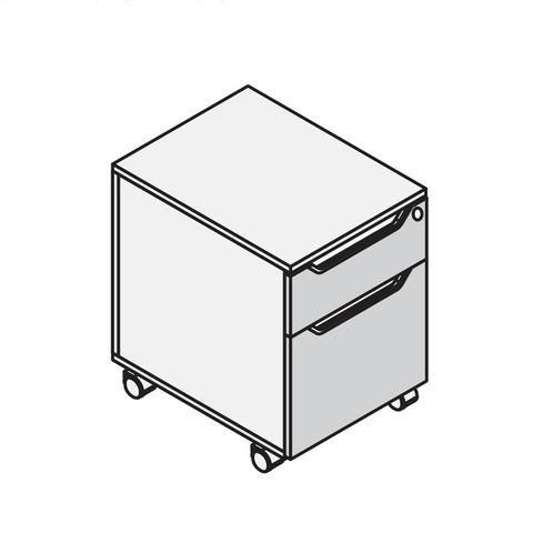 Тумба мобильная (подкатная) 2 ящика LOGIC