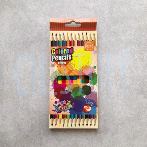Карандаши двухцветные Colored Pencils 12 штук (24 цвета)