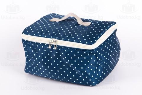 Мягкая сумка для мелких вещей, XS, 25*20*16 см (темно-синяя в горошек)