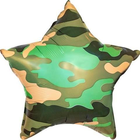 Фольгированный шар звезда, камуфляж