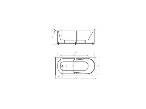 Ванна акриловая Aquatek Лея 170х75см. на каркасе с сливом-ререливом. схема