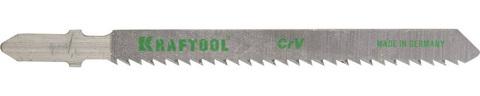 Полотна KRAFTOOL, T101BR, для эл/лобзика, Cr-V, по дереву, фанере, ламинату, обратный рез, EU-хвост., шаг 2,5мм, 75мм, 5шт
