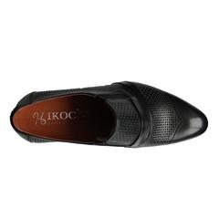 Летние мужские туфли кожаные черные на резинке Iкос 798-1