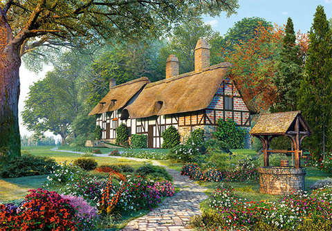Картина раскраска по номерам 30x40 Колодец у дома