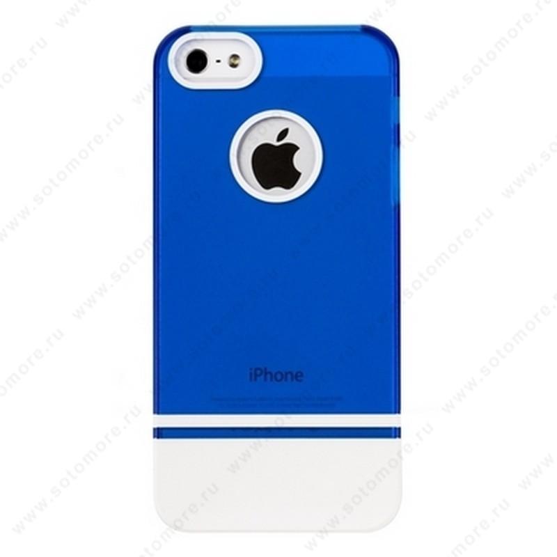 Накладка MOBILE 7 для iPhone SE/ 5s/ 5C/ 5 синий верх белый низ