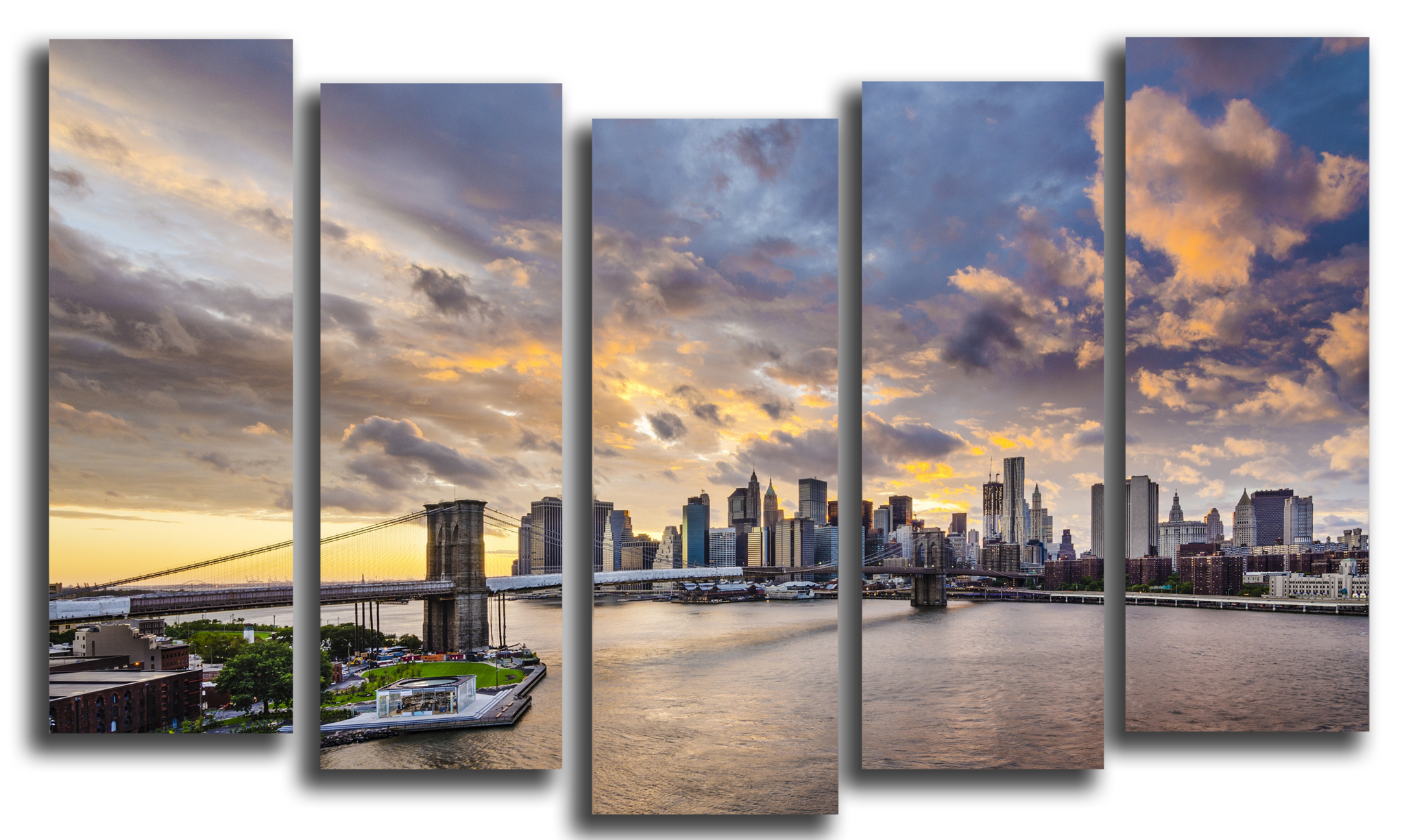 """Города Модульная картина """"Вечерний Бруклинский мост"""" М1070_M_загибы_100х64.png"""