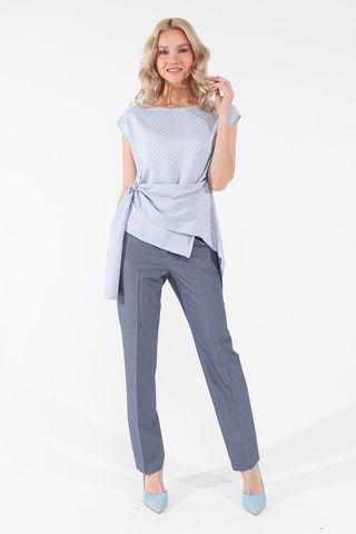 Фото оригинальная асимметричная голубая блуза с  вырезом лодочкой - Блуза Г713-133 (1)