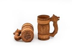 Кружка деревянная пивная с резной ручкой «Медведь» 0,5 л, фото 2