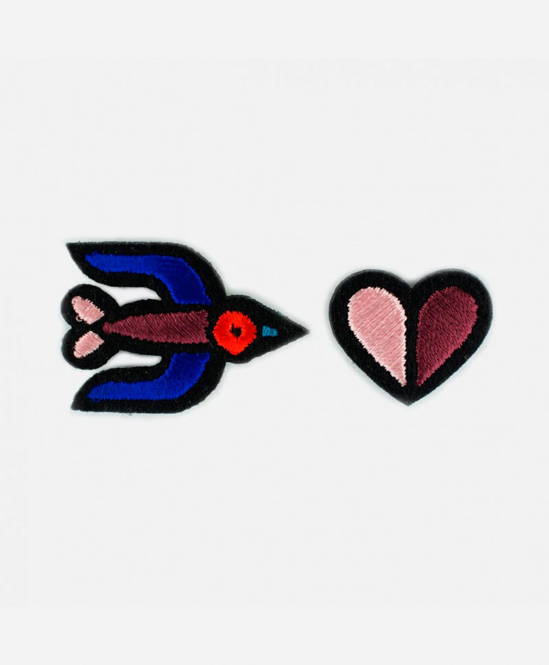 Патч-заплатка Blue Swallow + Two - tone heart