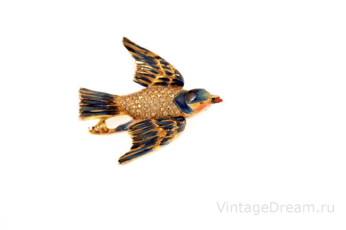 "Редкая, коллекционная серебряная брошь ""Птица"" от Corocraft, 40-е гг.     Rare CORO Enameled Sterling Silver Bluebird brooch"