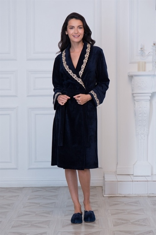 Велюровый халат синий