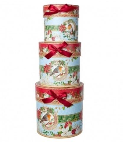 Набор коробок подарочных круглых Птица из 3шт, размер: D21хH21см