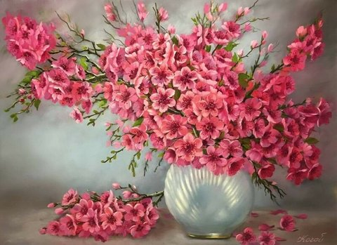 Алмазная Мозаика 40x50 Букет розовых цветов в жемчужной вазе