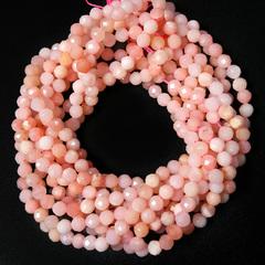 Бусины розовый опал А граненый 4 мм нить 19 см