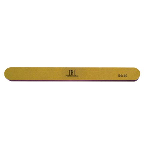 Пилка для ногтей узкая 100/100 высокое качество (золото) в индивидуальной упаковке (пластиковая основе)