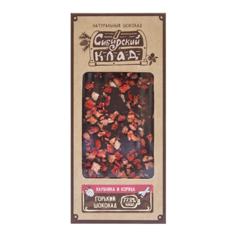 Шоколад Горький Клубника и корица 30 грамм