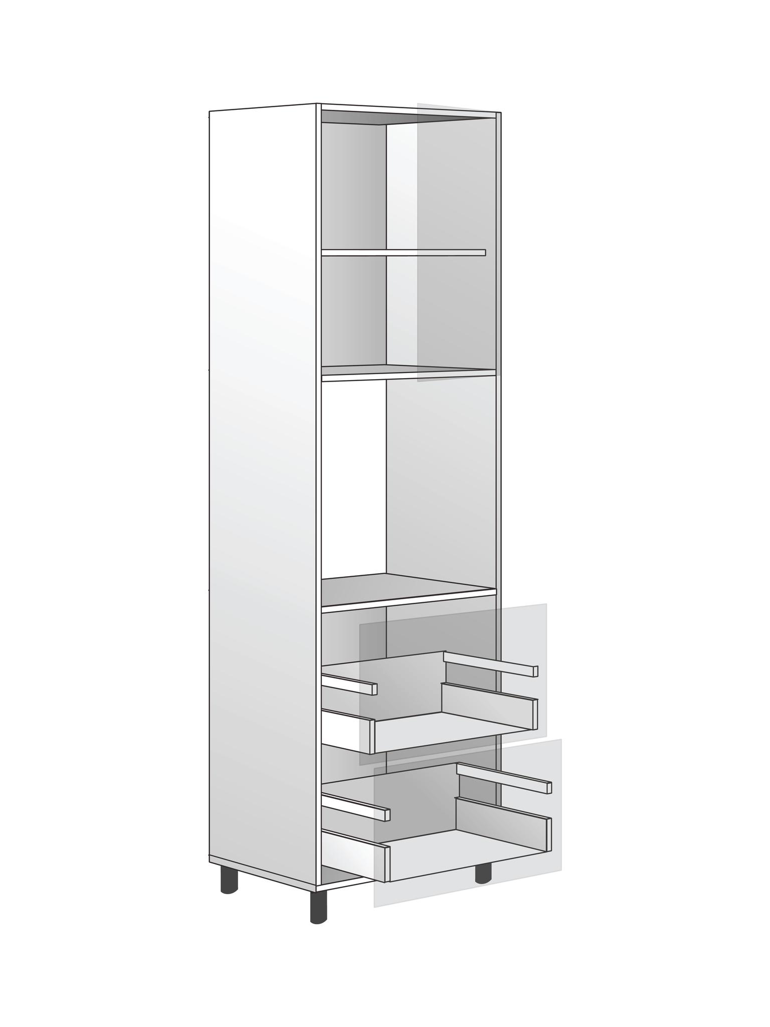 """Напольный шкаф для духовки c полкой и 2 ящиками  """"BOX"""", 2040х600 мм"""
