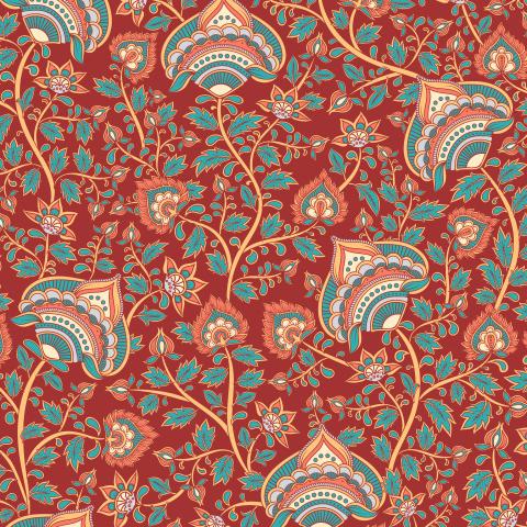 Цветочный орнамент на темно-красном фоне. Индийский стиль (Дизайнер Irina Skaska)