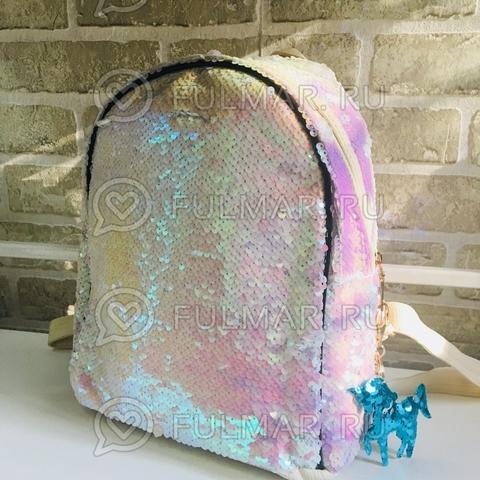 Рюкзак с двусторонними пайетками меняет цвет Перламутровый-Белый Margo и брелок Единорог
