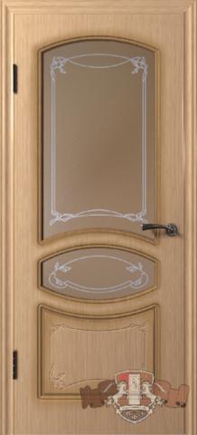 Дверь 13ДР1 (светлый дуб, остекленная шпонированная), фабрика Владимирская фабрика дверей