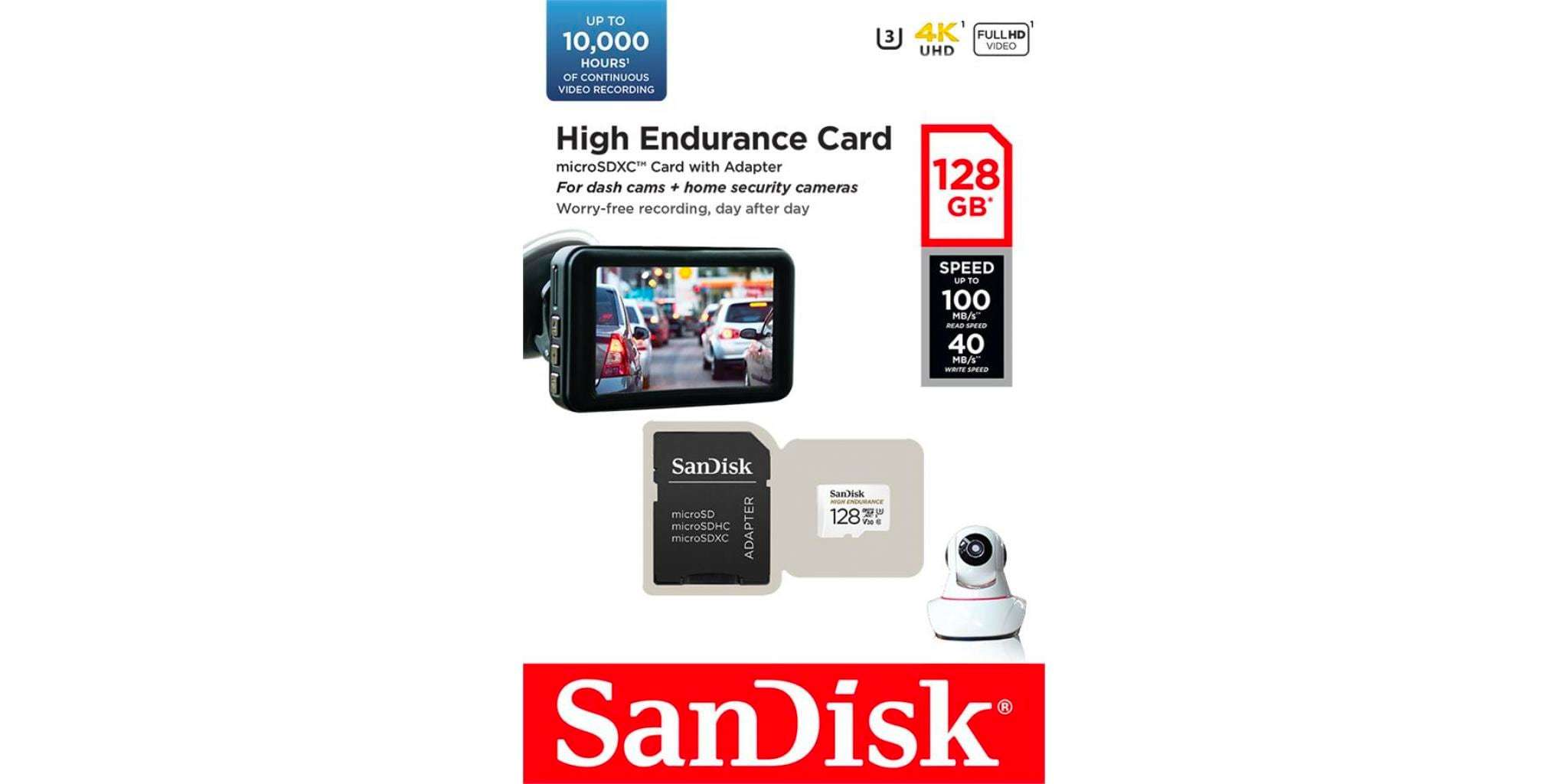 Флеш карта microSD 128GB SanDisk microSDXC Class 10 UHS-I U3 V30 High Endurance Video Monitoring Card упаковка