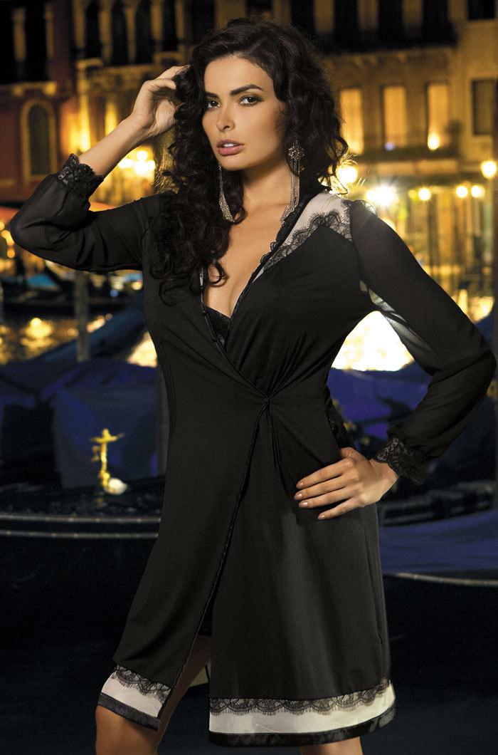 Халаты женские Халат женский с  кружевом   MIA-MIA  New Elegance  ЭЛЕГАНС 12017 12017.jpg