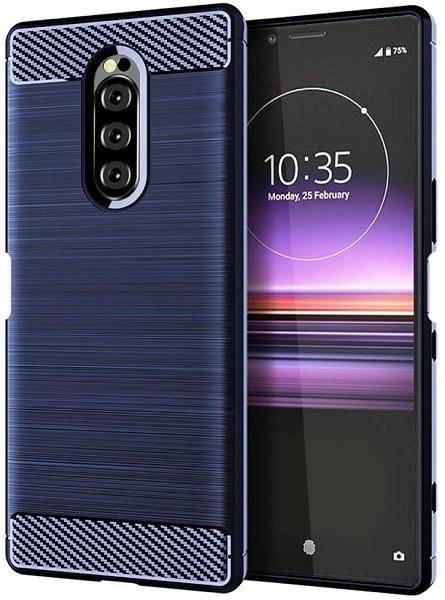Чехол Sony Xperia 1 цвет Blue (синий), серия Carbon, Caseport
