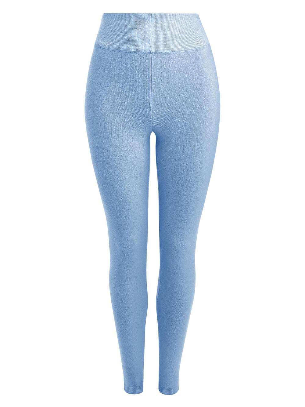 Женские брюки голубого цвета из 100% кашемира - фото 1