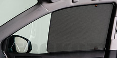Каркасные автошторки на магнитах для Datsun MI-DO (2014+) Хетчбек. Комплект на передние двери (укороченные на 30 см)