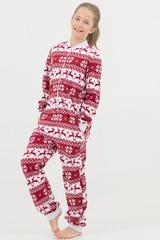 """Детская пижама-комбинезон """"Скандинавские узоры"""" с молнией красная"""
